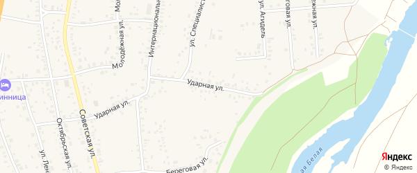 Ударная улица на карте села Зиргана с номерами домов