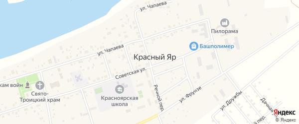 Речной переулок на карте села Красного Яра с номерами домов