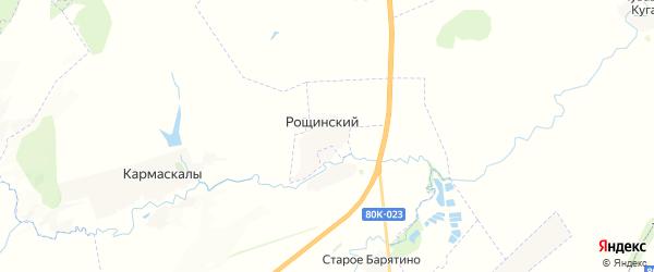 Карта Рощинского сельсовета республики Башкортостан с районами, улицами и номерами домов