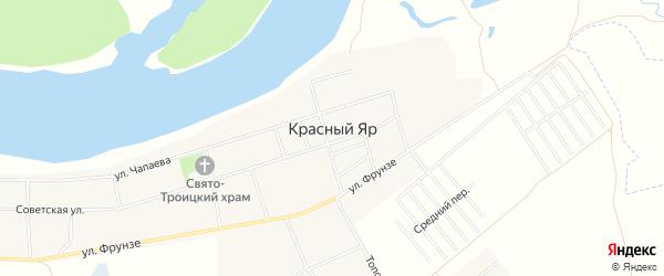 Карта села Красного Яра в Башкортостане с улицами и номерами домов