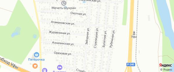 Звездная улица на карте Уфы с номерами домов