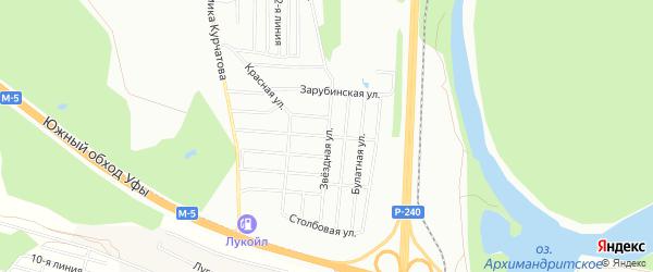 Карта хутора свх Цветы Башкирии города Уфы в Башкортостане с улицами и номерами домов