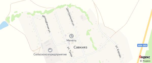 Центральная улица на карте села Савкияза с номерами домов