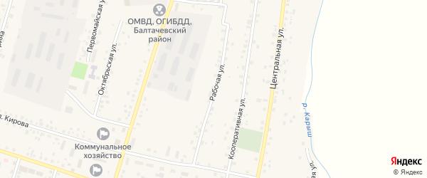 Рабочая улица на карте села Старобалтачево с номерами домов