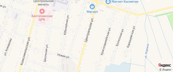 Центральная улица на карте села Старобалтачево с номерами домов