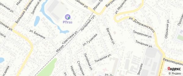 Улица Гузакова на карте Уфы с номерами домов