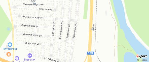 Рубежная улица на карте Уфы с номерами домов