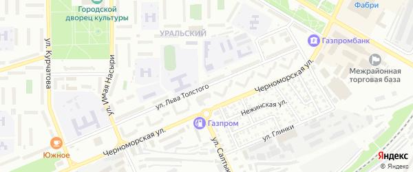 Улица Льва Толстого на карте Стерлитамака с номерами домов