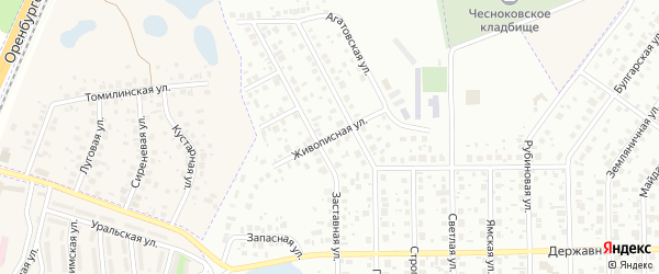 Живописная улица на карте Уфы с номерами домов