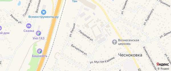 Лазурная улица на карте села Чесноковки с номерами домов