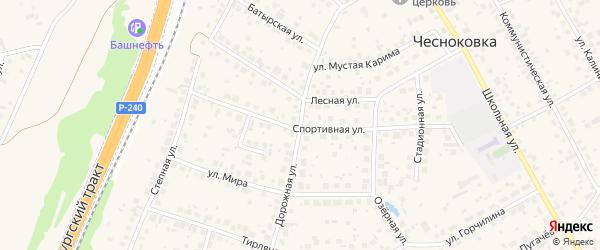Дорожная улица на карте села Чесноковки с номерами домов