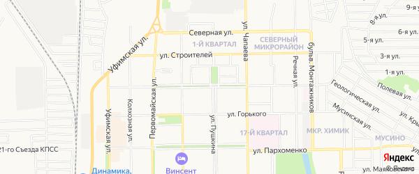 Территория Гаражи по Хмельницкого на карте Салавата с номерами домов