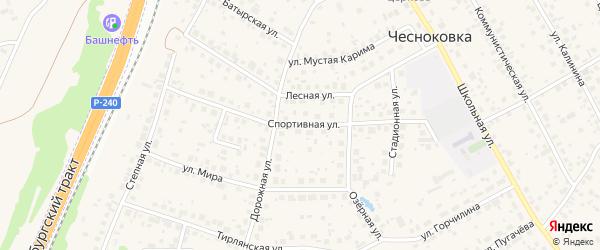 Спортивная улица на карте села Чесноковки с номерами домов