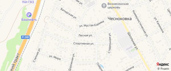 Лесная улица на карте села Чесноковки с номерами домов