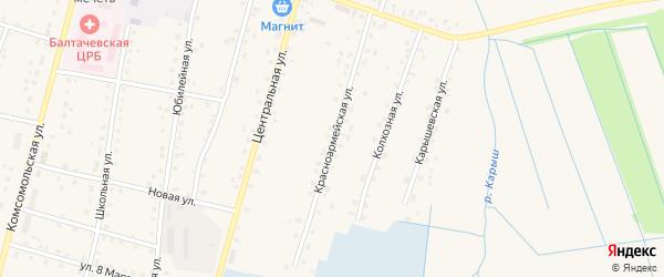 Красноармейская улица на карте села Старобалтачево с номерами домов