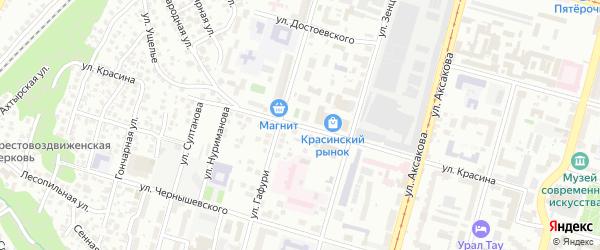 Улица Красина на карте Уфы с номерами домов