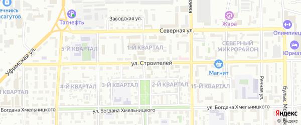 Улица Строителей на карте Салавата с номерами домов