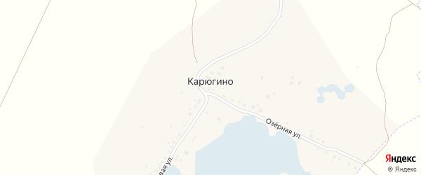Озерная улица на карте деревни Карюгино с номерами домов