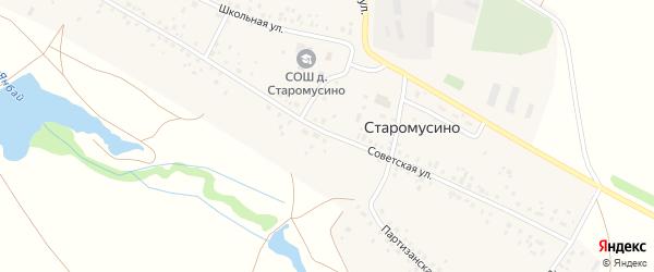 Советская улица на карте деревни Старомусино с номерами домов