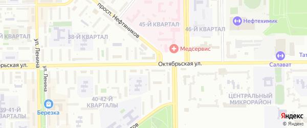 Октябрьская улица на карте Салавата с номерами домов