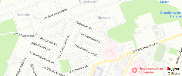 Улица Пожарского на карте Стерлитамака с номерами домов