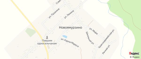 Речная улица на карте деревни Новоямурзино с номерами домов