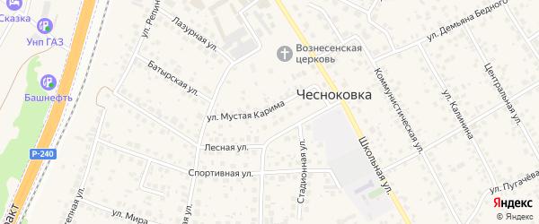 Улица М.Карима на карте села Чесноковки с номерами домов