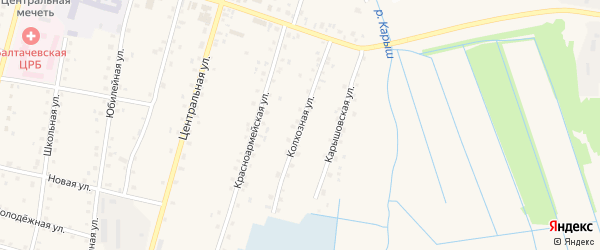 Колхозная улица на карте села Старобалтачево с номерами домов