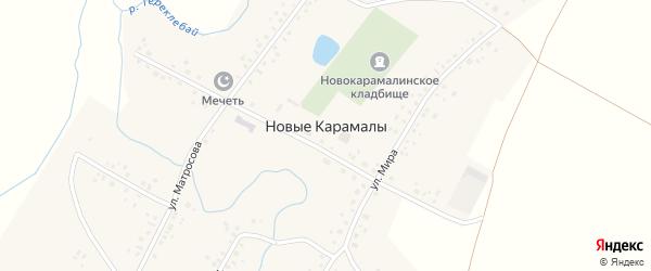Полевая улица на карте деревни Новые Карамалы с номерами домов