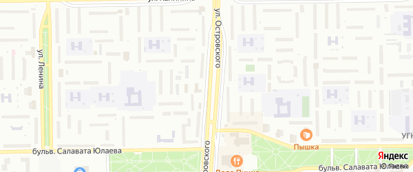 Улица Островского на карте Салавата с номерами домов
