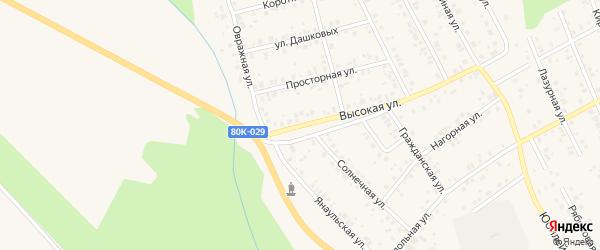Высокая улица на карте Благовещенска с номерами домов