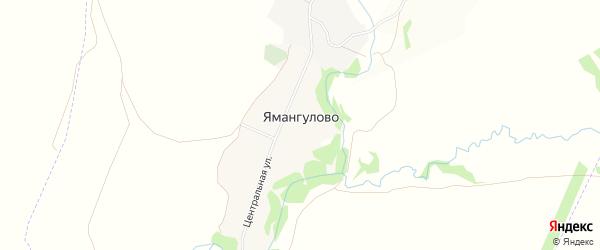 Карта деревни Ямангулово в Башкортостане с улицами и номерами домов