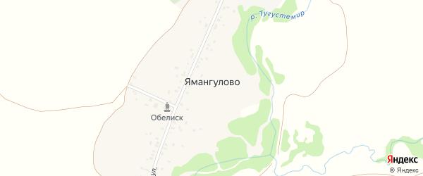Центральная улица на карте деревни Ямангулово с номерами домов