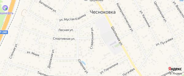 Стадионная улица на карте села Чесноковки с номерами домов