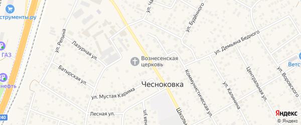 Школьная улица на карте села Чесноковки с номерами домов
