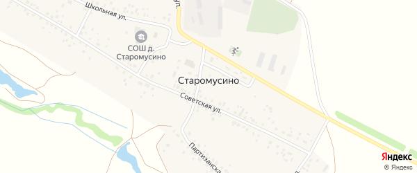 Школьная улица на карте деревни Старомусино с номерами домов