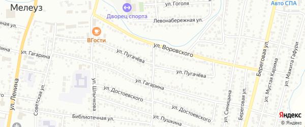 Улица Пугачева на карте Мелеуза с номерами домов