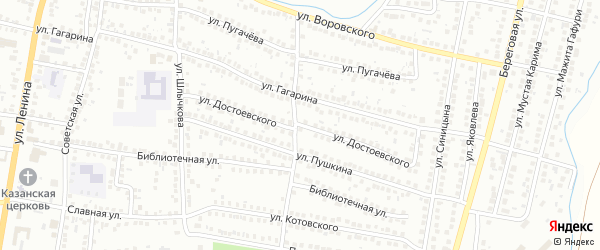 Улица Достоевского на карте Мелеуза с номерами домов