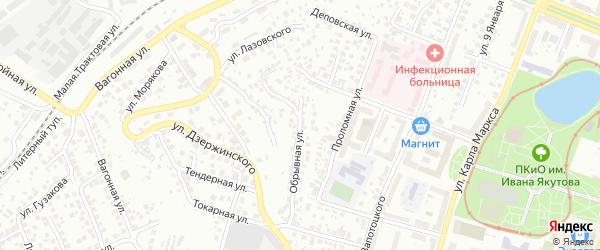 Обрывная улица на карте Уфы с номерами домов