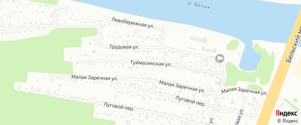 Туймазинская улица на карте Уфы с номерами домов