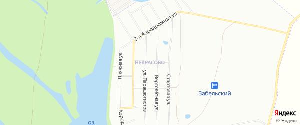 Карта поселка Некрасово города Уфы в Башкортостане с улицами и номерами домов