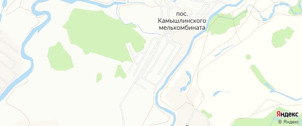 Карта поселка Камышлинского мелькомбината города Уфы в Башкортостане с улицами и номерами домов
