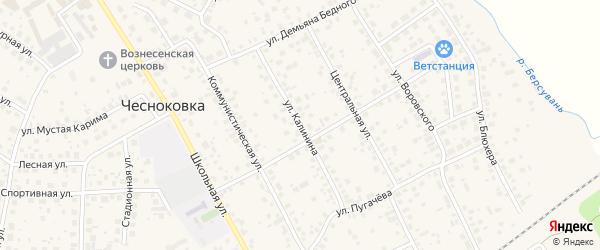 Улица Калинина на карте села Чесноковки с номерами домов