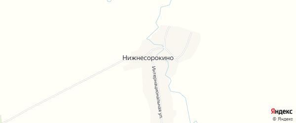 Карта деревни Нижнесорокино в Башкортостане с улицами и номерами домов