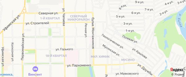 Территория Гаражи по Монтажников на карте Салавата с номерами домов
