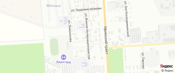Улица Воинов-интернационалистов на карте Стерлитамака с номерами домов