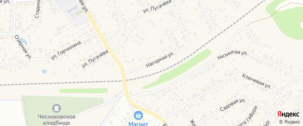 Нагорная улица на карте села Чесноковки с номерами домов