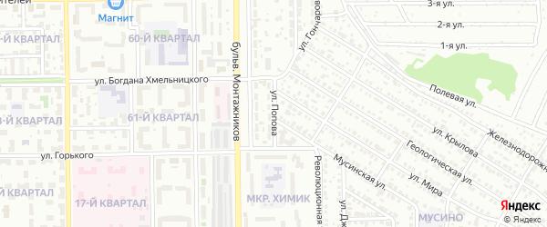Улица Попова на карте Салавата с номерами домов