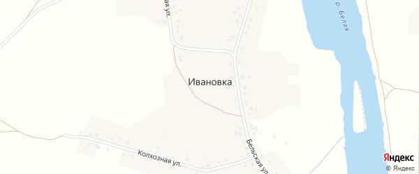 Зелёная улица на карте деревни Ивановки с номерами домов