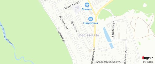 Лунная улица на карте Уфы с номерами домов